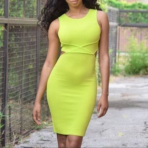 2725a834b7 Lime green knit dress with back cutout